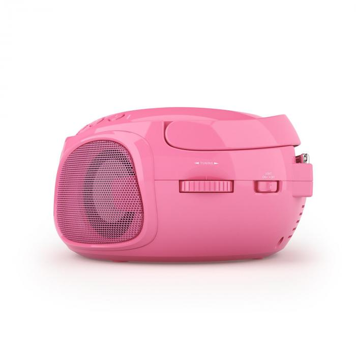 Roadie Boombox CD USB MP3 MW/UKW-Radio Bluetooth 2.1 LED-Farbspiel pink