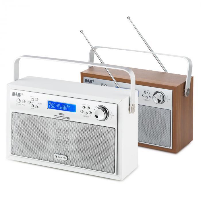 Akkord Rádio Digital Portável DAB+/Rádio FM PLL Relógio LCD Branco