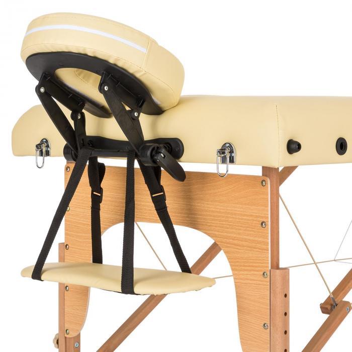 MT 500 Massagebänk 210 cm 200 kg Hopfällbar Småcells-Skumgummi Väska beige