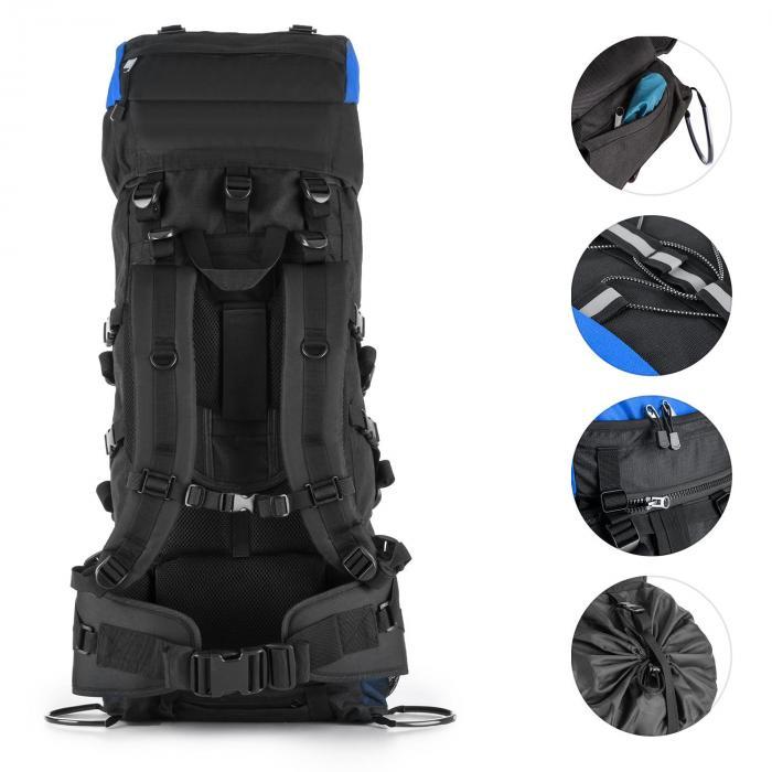 Almer Trekking-Rucksack 80l 40x80x35 cm Daypack blau/schwarz