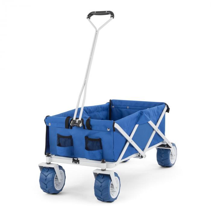 Waldbeck The Blue Bollerwagen Handwagen faltbar 70kg 90l Breiträder 10cm blau