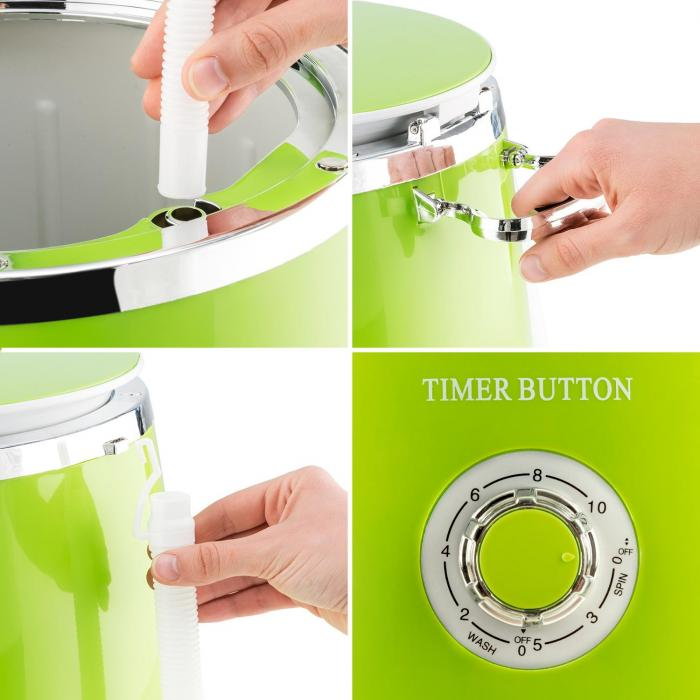 oneConcept Ecowash-Pico Mini Washing Machine spin cycle function 3.5 kg 380 W green