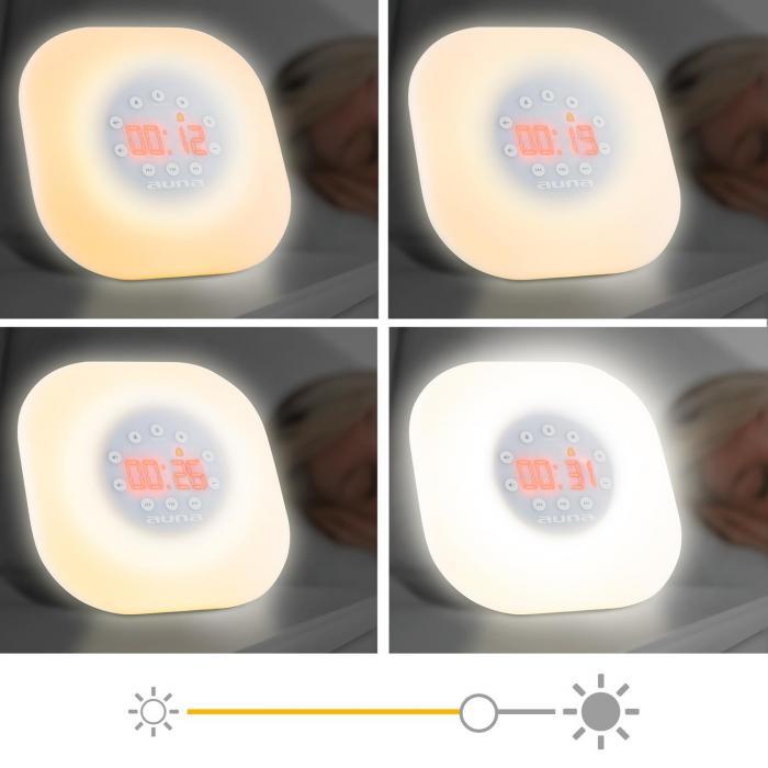 WL-60 Sveglia Luminosa Wake-Up-Light LED Radio VHF 2 Suoni Sveglia bianco
