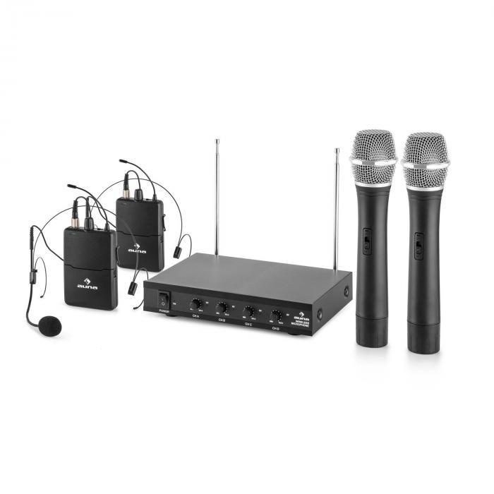 VHF-4-HS 4-Canali-VHF-Radiomicrofono Set 2xHeadset 2xMicrofono 50m