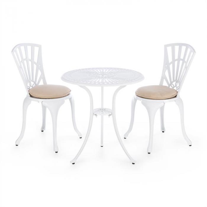 Valletta 3 Tlg Bistro Set Tisch 2 Stuhle Druckguss Alu Sitzpolster