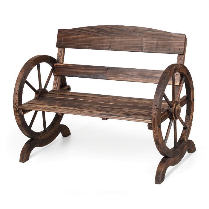 Ammergau Garden Bench Wagon Wheel Wooden Bench 108x65x86cm Pine Wood Flames