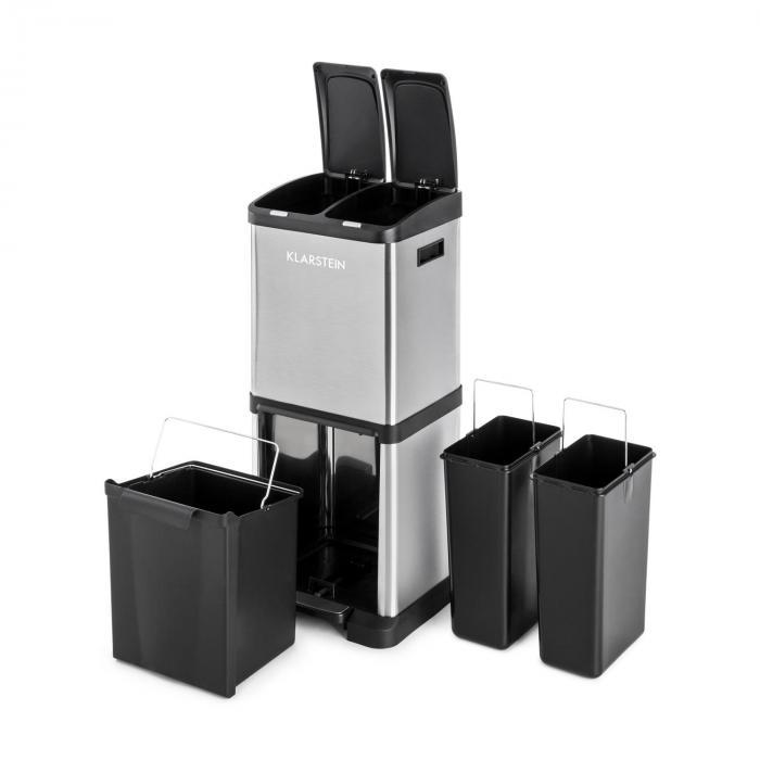 Ökosystem² Mülleimer Mülltrenner 30L (1 x15L, 2x7,5 L) PE Edelstahl