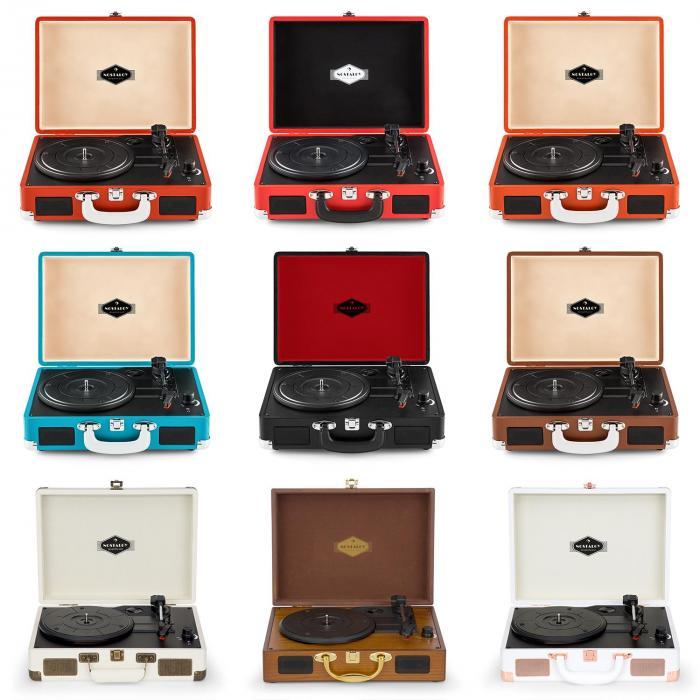 Nostalgy by auna Peggy Sue retro-platenspeler LP USB AUX wit/roze goud-optiek