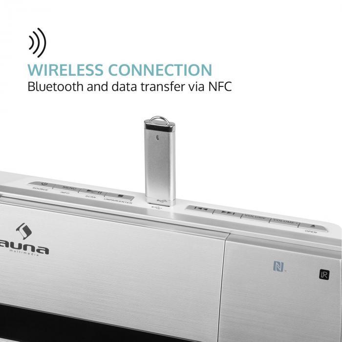 V-20 DAB Sistema estéreo vertical Bluetooth NFC CD USB MP3 DAB+ Plateado Blanco