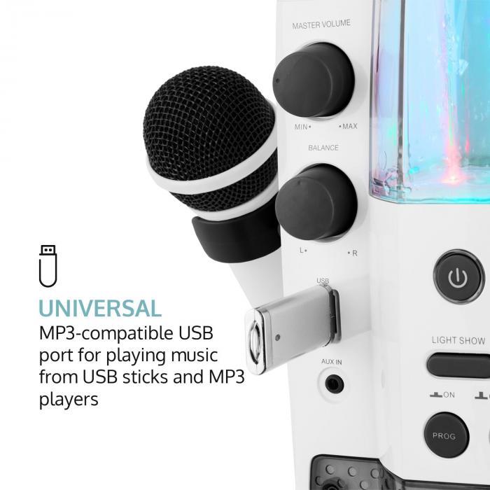 Kara Liquida BT harmaa + Dazzl Mic Set karaokelaite mikrofoni LED-valo