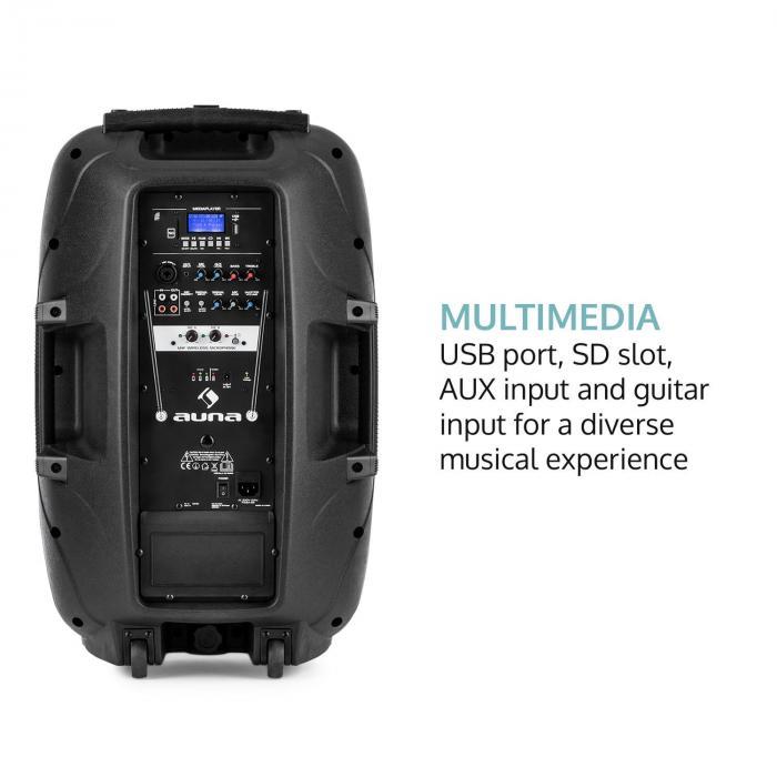 """Streetstar 2.0 12 siirrettävä PA-laite 12 """" subwoofer trolli BT USB/SD/MP3"""