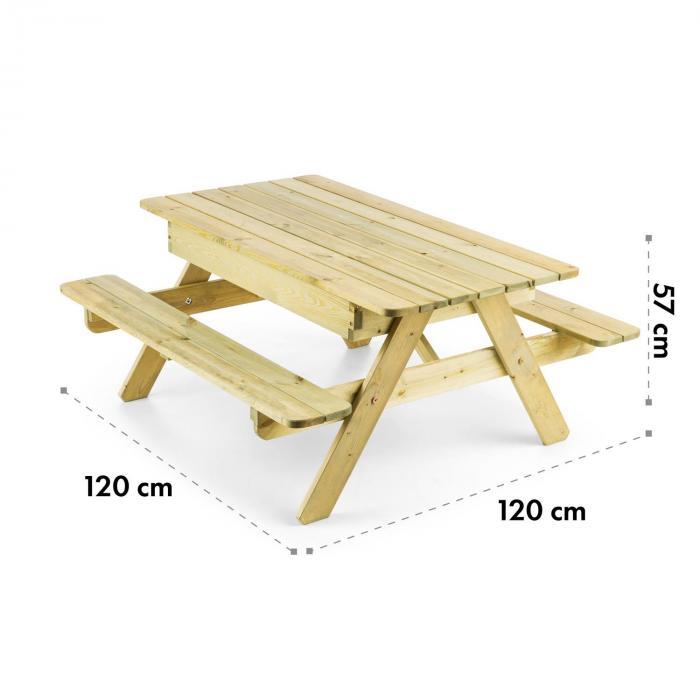 Zaubersand lasten piknik-pöytä leikkipöytä hiekkalaatikko mäntypuuta