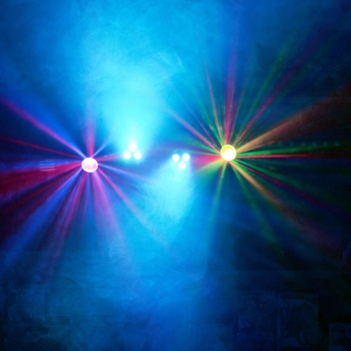 LED-Partybar 2xPAR-RGBW-LEDit + RGBW-Jellball sis. jalustan & IR-kaukosäätimen