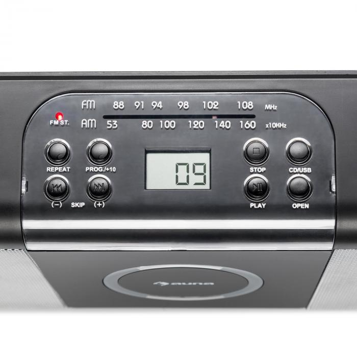 Boomtown USB CD-Player UKW Radio MP3 draagbaar kofferradio Boombox zwart