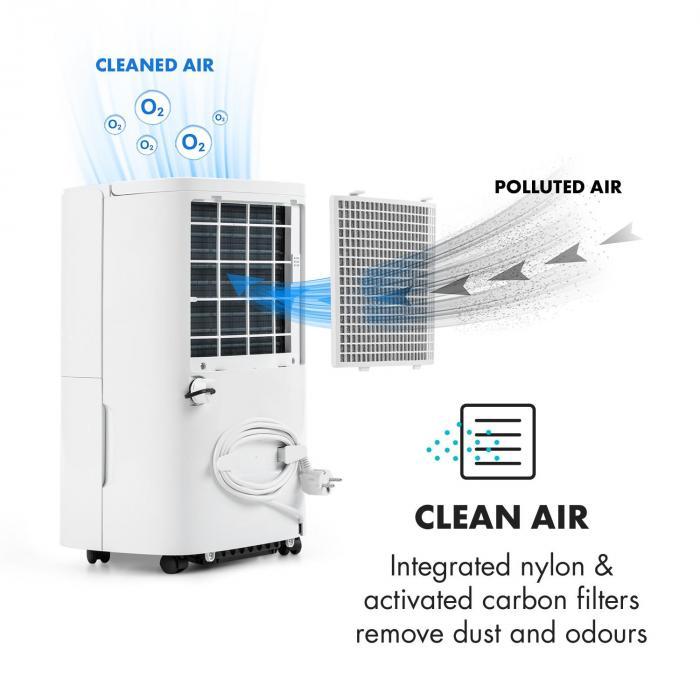DryFy 20 luchtontvochtiger compressie 20l/24h 420W timer wit