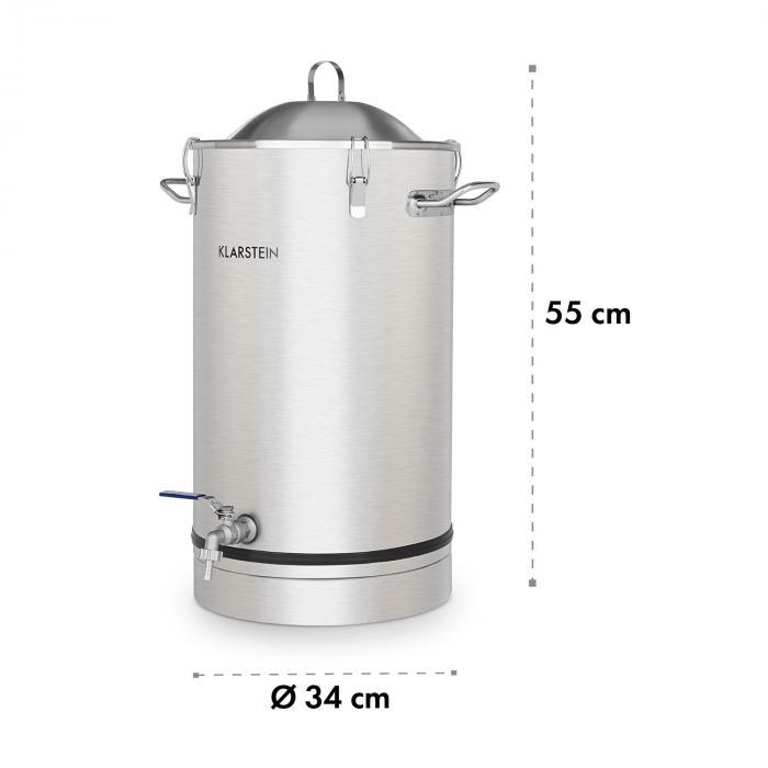 Maischfest käymiskattila 25 litraa vesilukko ruostumatonta 304-terästä