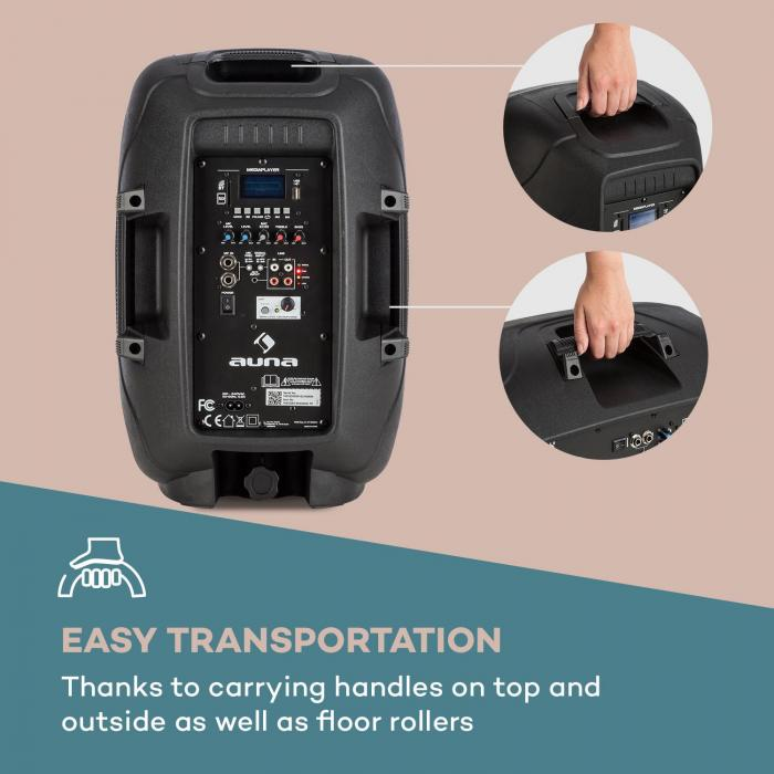 "Streetstar 10 impianto PA portatile + treppiede woofer da 10"" microfono UHF da 400 W nero"