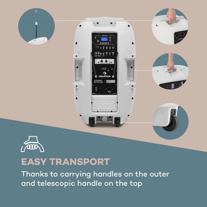 "Streetstar 15 Mobile PA System 15"" (38 cm) 2 x UHF Mics 1000 W max. White"
