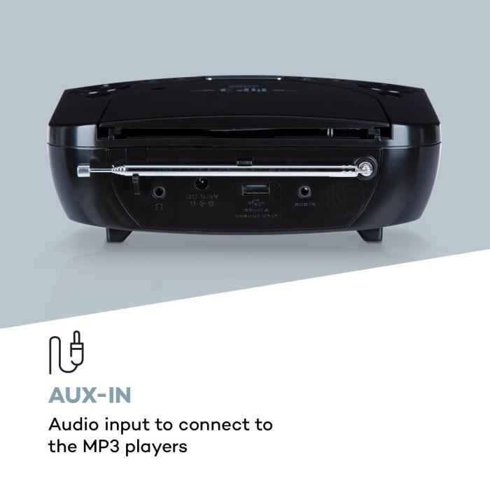 Dreamee DAB+ radiowekker CD speler DAB+/FM CD-R/RW/MP3 AUX retro zwart