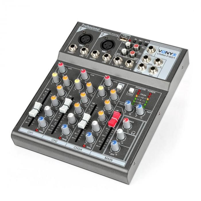 Mutta Kanaal Songs Mp3: VMM-F401 Music Mixer 4 Canali USB-Player AUX-IN +48V