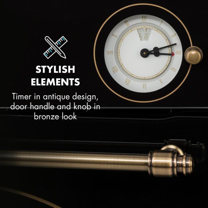 Victoria Horno empotrable Diseño retro 9 funciones 50-250°C negro