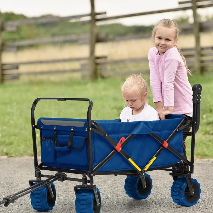 Easy Rider Bollerwagen bis 70kg Teleskopstange zusammenklappbar blau