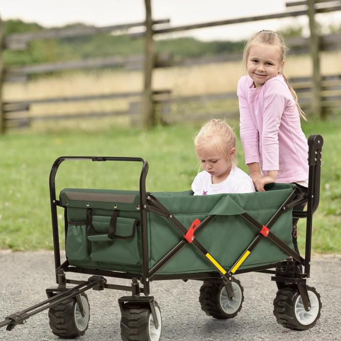 Easy Rider Bollerwagen bis 70kg Teleskopstange zusammenklappbar grün