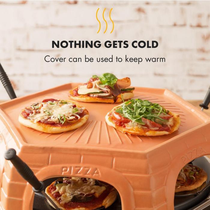 Capricciosa pizzauuni 1500 W terrakottakansi lämpimänäpitotoiminto