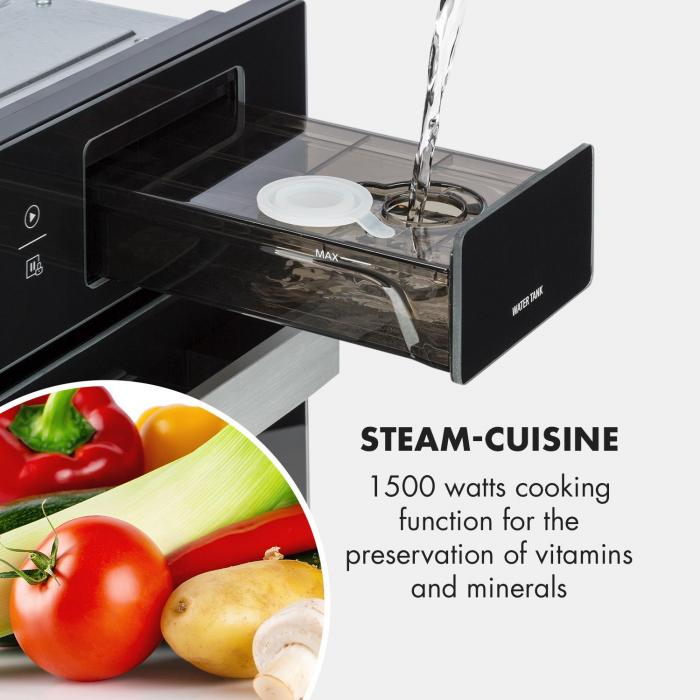 Luminance Steam 3 in 1 Built-in Steamer: Microwave & Grill, 34 L Microwave Oven: 900 W Black
