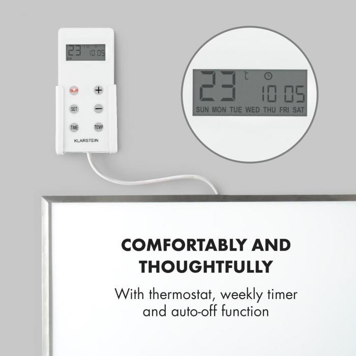 Wonderwall 72 Radiatore a Infrarossi  60 x 120 cm 720W Timer Settimanale IP24 Bianco
