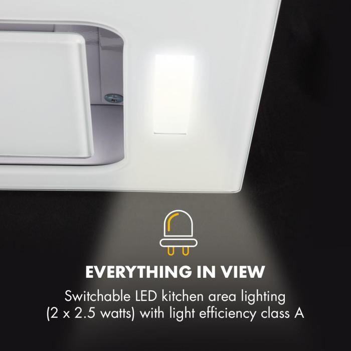 Hektor Dunstabzugshaube Einbau 52cm Abluft: 530 m³/h LED Touch Glas weiß