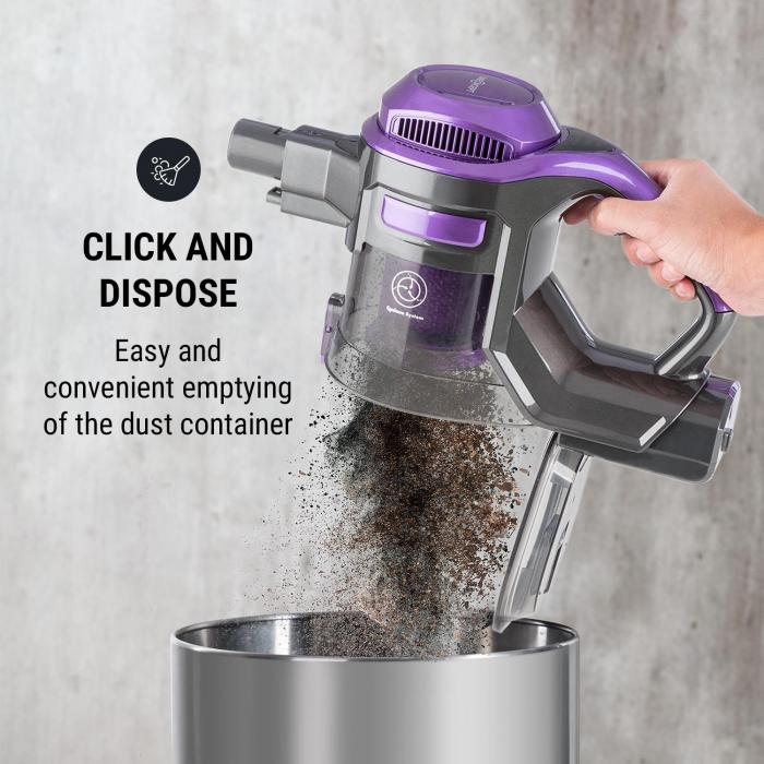 cleanFree Cordless Vacuum Cleaner, Cyclonic System, Black / Purple
