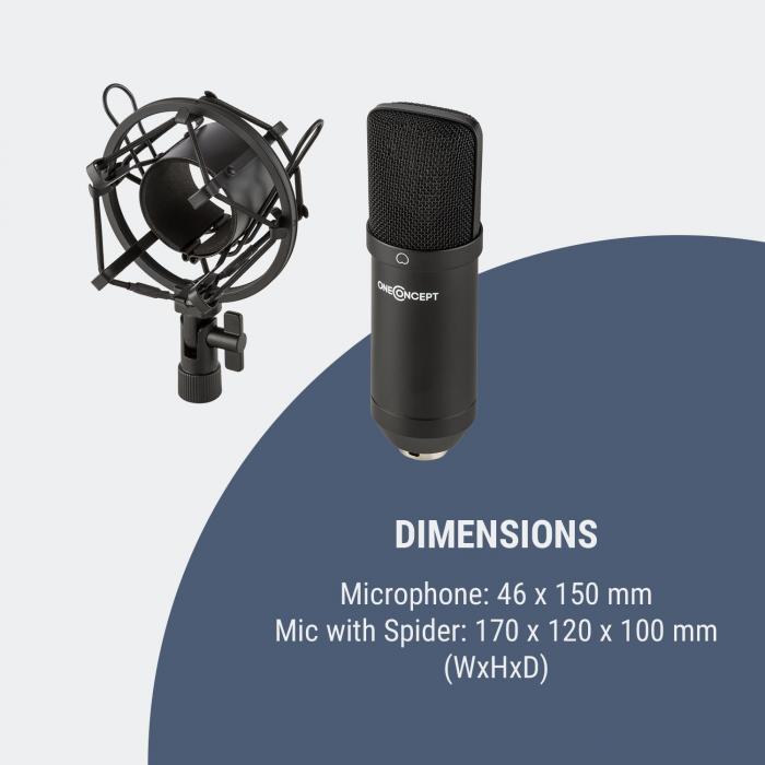 Mic-700 Studio-Mikrofon Ø34mm Uni Spinne Windschutz XLR schwarz