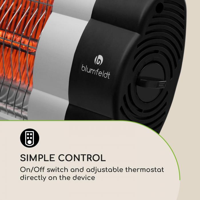 Rising Sun Mono Heater 2500W IP34 Height Adjustable Silver