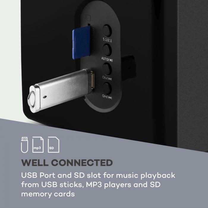 Concept 520 5.1 Lautsprechersystem 75 W RMS OneSide Subwoofer BT  USB SD