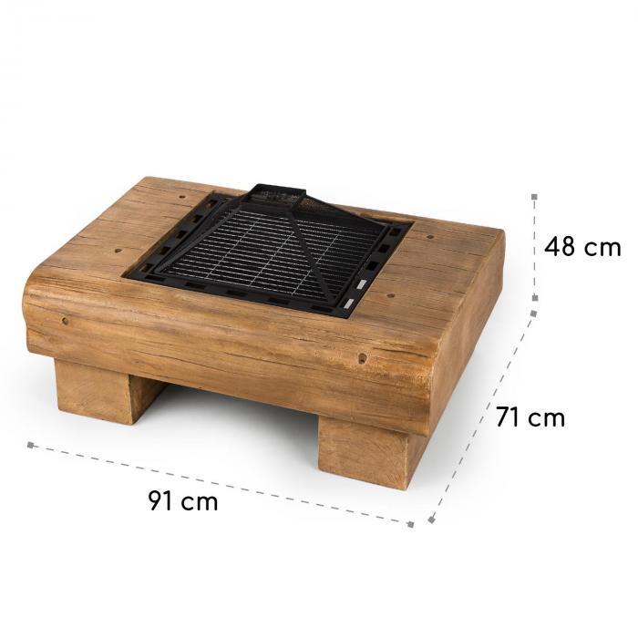 Lombardia Brasero 40 x 40 cm BBQ-Pit Parachispas MagicMag Aspecto de madera