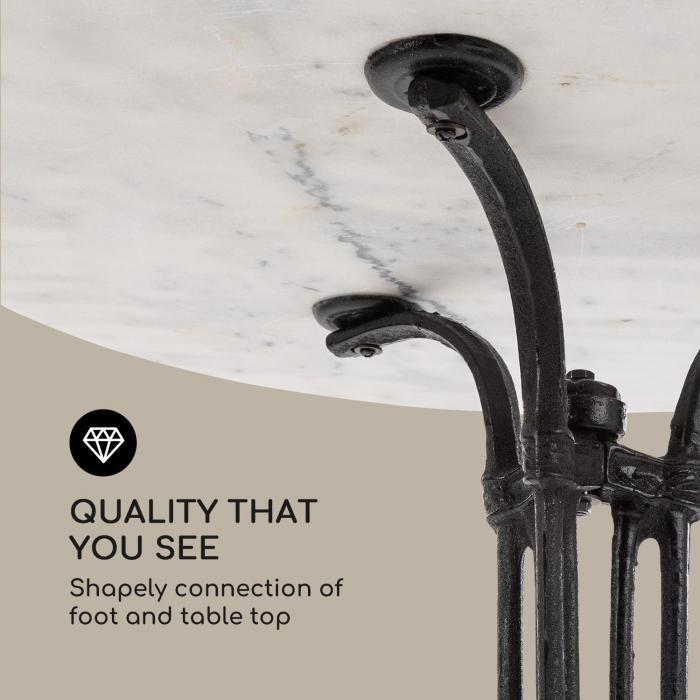 Patras-XL Bistrotisch 4-Seasons-Marble wasserfest frostsicher weiß / schwarz