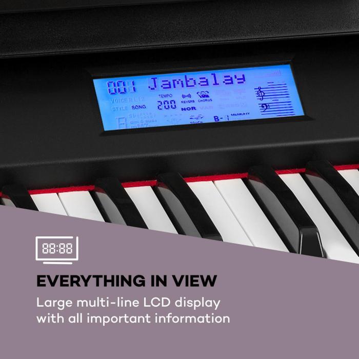 Subi88 MKII Keyboard 88 Keys MIDI USB 360 Sounds 160 Rhythms Black