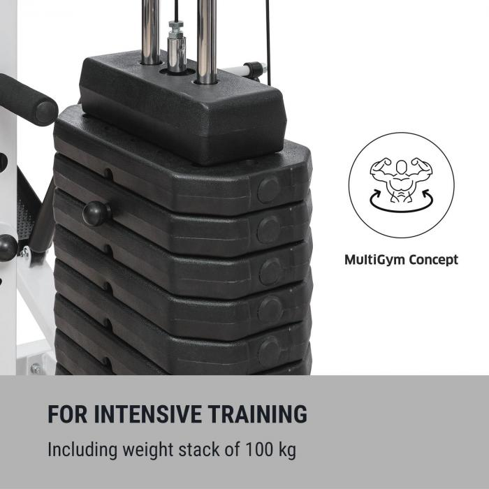 Ultimate Gym 9000 7 stationer upp till 150kg QR-stål vitt