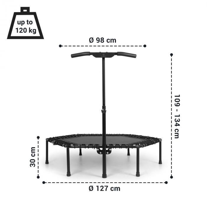 "Jumpanatic Pro Fitness Trampoline 50""/ 127 cm Ø Handle Bar Black"
