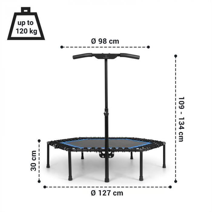 Jumpanatic Pro -fitnesstrampoliini 50'' / 127 cm Ø kädensija sininen
