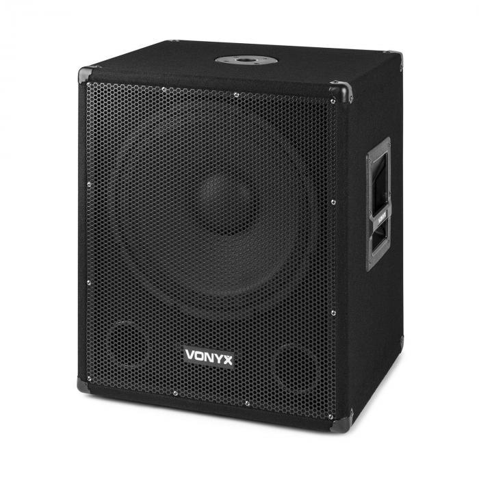 """SMWBA15 subwoofer PA attivo da 15"""" 600 W max. BT MP3 connessione a flangia"""