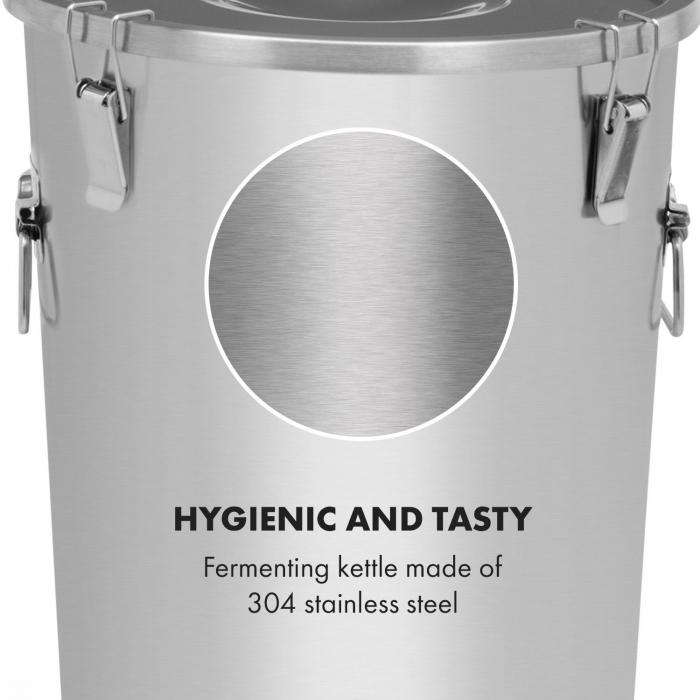 Gärkeller Kocioł do fermentacji 30 l rurka fermentacyjna termometr stal szlachetna 304