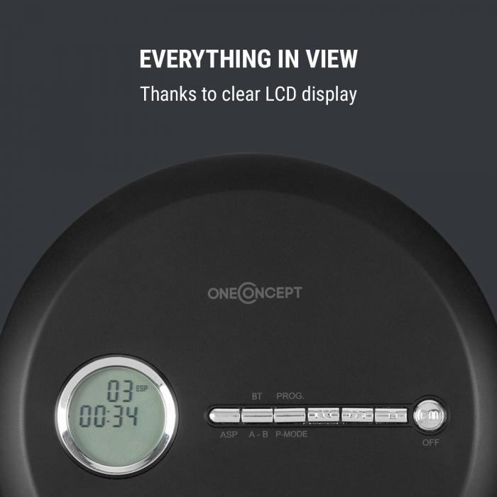 CDC 100 BT Discman BT Function LCD ASP 2x1.5V Black