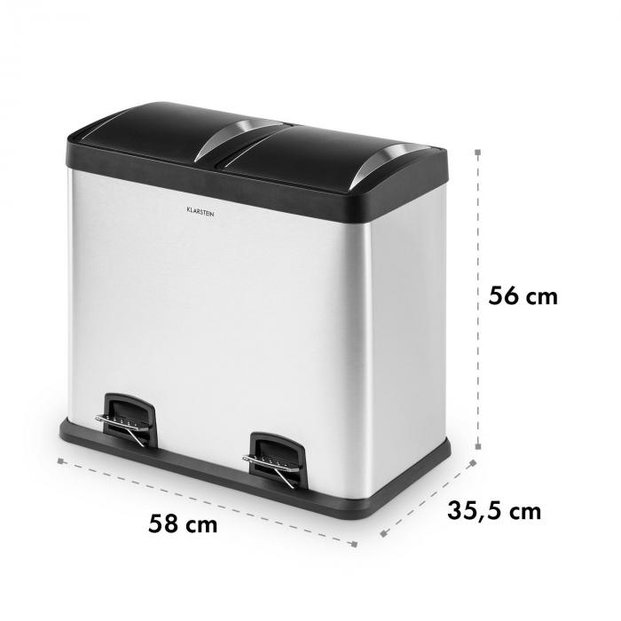 Johnny Trash Pedal Bin 48L / 2x24L PP Brushed Stainless Steel