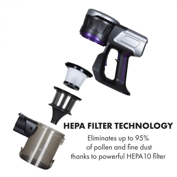 Clean Butler 4G Silent Akku-Staubsauger | motorisierte Bodendüse | Silent Digital DC-Motor: bürstenlos / 160W / 80.000 U/min | Luftstrom: 54 m³/h | Vakuumleistung: 16 kPa | 2 Stufen | HEPA10-Filter | Betriebszeit: 20-35 Minuten | Akku: 22,2 V / 2200 mAh