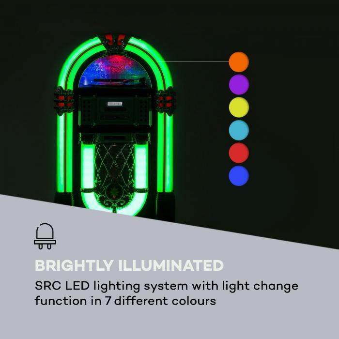 Graceland DAB Jukebox BT CD Vinyl DAB+/UKW USB SD AUX-IN LED-Light