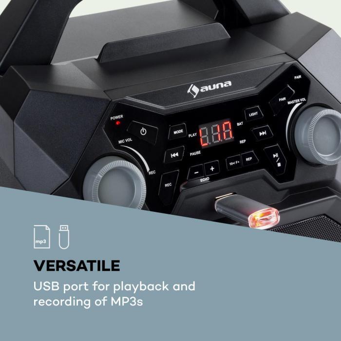 Rockstar LightShow Karaokeanlage BT USB Line-In/Out 2 x 6,3mm schwarz
