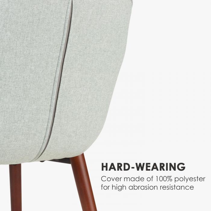 Iris sedia imbottita - imbottitura in poliuretano espanso - rivestimento in poliestere - gambe di legno - verde chiaro