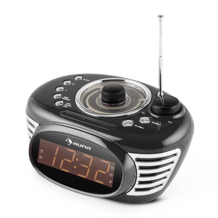 RCR 56 BK Radio Sveglia Retro FM AUX Doppio Allarme Nera